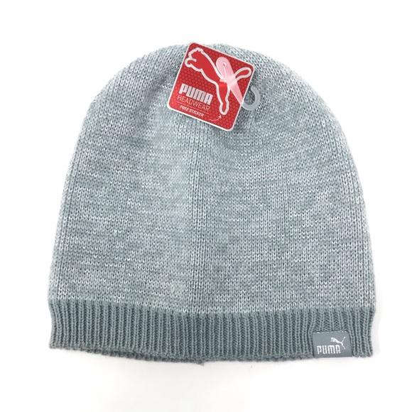 2f6517a0bb7 Puma grey shimmer beanie cold weather hat NWT